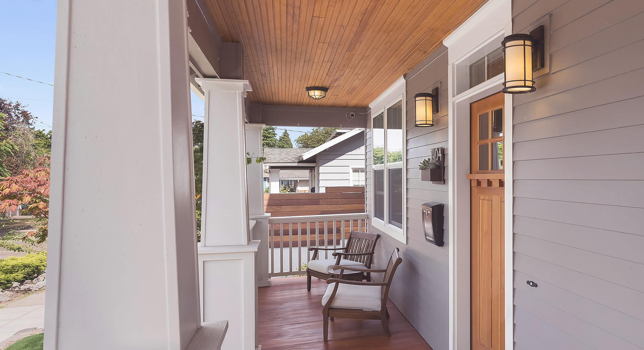 The porch of a newly purchased home.